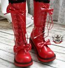 Sweet Lolita Dolly Cosplay Princess 2 Bow Tie Knot Laceup Heel Winter Boot Red