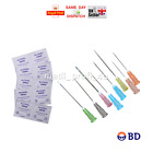 10 20 25 30 50 100 BD NEEDLES + THE SAME QTY SWABS HUGE CHOICE 23G BLUE PINK INK