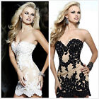 White/Black Bridal dress Short Bridesmaid Prom Evening Gown SZ 8 10 12 14 16 18