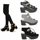 womens ladies strappy chunky block grip heel lace up cut out sandals shoes size