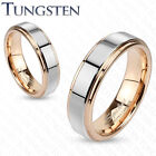 Tungsten Two Tone Inner Rose Gold Ion Plated Band Ring Step Edges (f300)