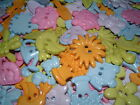 PASTEL MIXED GARDEN SEW THRU/THROUGH BUTTONS/EMBELLISHMENTS - FROGS/FLOWERS/BEES