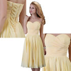 New Sexy Bridesmaid Yellow Chiffon Wedding Evening Cocktail Princess Party Dress