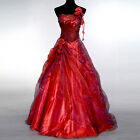 Sexy Red Luxury Wedding Bridesmaid One Shoulder Long Dress Formal Party Ballgown
