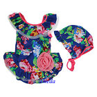NEW Lovely Girls Royal Blue Hot Pink Rose Tutu One Piece Swimsuit Hat 2-8Y
