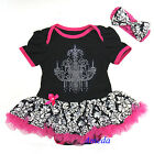 Baby Black Pink Damask Rhinestone Chandelier Bodysuit Romper Tutu Party Dress