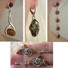 BALTIC HONEY or GREEN AMBER & STERLING SILVER ROSE or MODERN EARRINGS