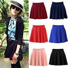 Candy Color Stretch Waist Plain Jersey Skater Flared Pleated casual Mini Skirt