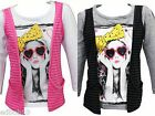 Girls FUNKY DIVA long sleeve face print top grey or white 2-3 3-4 & 5-6 years