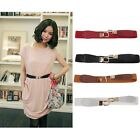 Women Fashion Metal Gold Buckle Elastic Stretch Waist PU Leather Belt Waistband