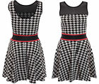 New Womens Ladies Jessi Wright Dog Tooth Mesh Insert Low Back Flared SkaterDress