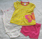 CARTERS 3-piece Baby DRESS BODYSUIT SHORTS Yellow 6, 9, 12, 18, 24 mths BNWT