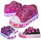Light Up Baby Toddler Girls Velcro Strap Canvas Flat Sneaker Shoes PINK PURPLE
