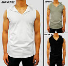 mens PLAIN HOODED TANK TOP HOOD singlet MUSCLE S - XXL cotton designer gym EURO