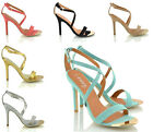 LADIES WOMENS STRAPPY MID HIGH HEELS STILETTO PARTY PROM SANDAL SHOES SIZE 3-8