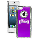 For iPhone 4 4S 5 5S 5c Purple Rhinestone Bling Hard Case I Love My Beagle