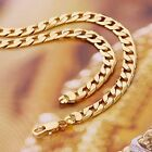 """9ct 9K Yellow """"Gold Filled"""" Curb Ring Link 18"""",24"""" Chain Necklace. W= 3,4 & 6mm"""