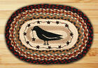 Crow & Star Oval Braided Placemat 100% Natural Jute Hand Printed Artwork