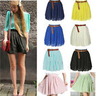 Women's Beauty High Waist Pleated Double Layer Chiffon Short Mini Skirts Dress
