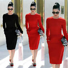 Vintage Crew Neck Bodycon Stretch Cocktail Prom Party Evening Wear To Work Dress