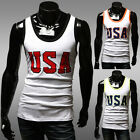Cool Mens Summer A-Shirt Wife Beater Ribbed Tank Slim Muscle Tee 3 Size S~L