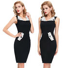 Spring Retro V Neck Skirt Women's Pinup Party Polka Midi Pencil Wiggle Dress NEW