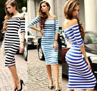New Celeb Women Bodycon Pinup Dresses Half Sleeve Off Shoulder Stripe Midi Dress
