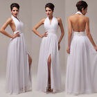 Halter Design Lady Chiffon Backless Zipper Long Evening Gown White Prom Dresses