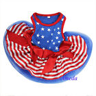 4th July Patriotic Blue Star Red Stripes Small Dog Pet Tutu Clothes Party dress