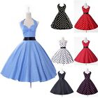 Vintage 1950s 1960s Swing Rockabilly Polka Dots Evening Party Dress Shrt Mini