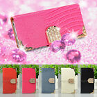 Crocodile Diamond Magnetic Flip Wallet Leather Case Cover For Nokia Lumia520/525