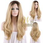 "Long Curly 18""-28"" Brown Mixed Blonde Lace Front Wig Heat Resistant"
