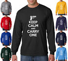 Keep Calm and Carry One Gun 2nd Amendment Rights Long Sleeve T-Shirt S-3XL