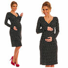 Pregnancy Maternity Long Sleeve Polka Dots Pleated Knee Length Jersey Dress 144