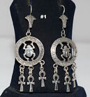Hall marked Egyptian,Египет Ägypten Pharaonic,Authentic Silver Earrings,variety