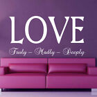 LOVE truly madly deeply transfer wall vinyl sticker bedroom art DECAL