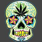 Weed Leaf Sugar Skull / 4 Color T-Shirts Available / Sizes- S,M,L,XL,2XL,3XL