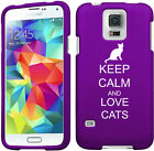 For Samsung Galaxy S4 S5 Rubber Hard 2 Piece Case Cover Keep Calm and Love Cats