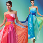 2 Color Chiffon Bridesmaid Wedding Girl Party Evening Gown Formal Cocktail Dress