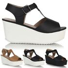 Ladies Womens High Block Heel Chunky Cleated Sole Platform Wedge Sandals Shoes