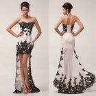 Strapless Chiffon Lace High-Low Ball Gown Evening Prom Cocktail Party Chic Dress