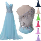 New Beaded See Through Back Formal Bridesmaid Party Evening Prom Dress Ball Gown