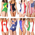 US Flag Brazilian Swimwear Women Digital Print One-Piece Backless Bikini Swimsui