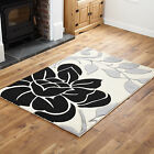 SMALL TO EXTRA LARGE SOFT HIGH QUALITY CREAM BLACK STYLISH FLORAL DESIGN RUGS