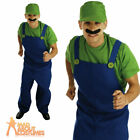 Green Plumbers Mate Luigi Costume 80s Super Mario Fancy Dress Outfit Mens New