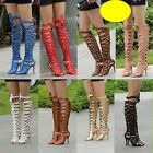 Trendy Womens Stiletto Roman Hollow Gladiator Knee High Boots Sandals Prom Shoes