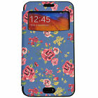 Galaxy Note 3, 2 Womens BLUE Flower Floral Window View Leather Flip Cover Case