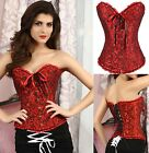 Ladies Red Floral Corset Basque Bustier G-String Knickers Underwear Lingerie Set