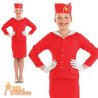 Girls Air Hostess Stewardess Costume Child Red Cabin Crew Fancy Dress Age 4-12