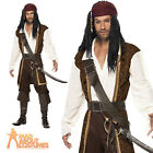 Adult High Seas Pirate Man Costume Jack Sparrow Fancy Dress Outfit New